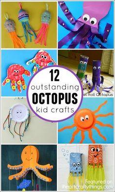 12 Outstanding Octopus Crafts for Kids. Fun summer kids craft or after visiting the aquarium. Craft Activities For Kids, Preschool Crafts, Kids Crafts, Ocean Theme Crafts, Sea Crafts, Octopus For Kids, Summer Arts And Crafts, Octopus Crafts, Camping Crafts
