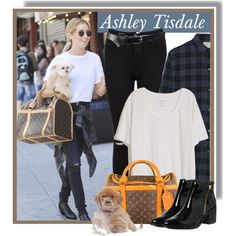 Ashley Tisdale with her dog on June 14th by anne-mclayne on Polyvore featuring polyvore fashion style Fine Collection Current/Elliott Miss Selfridge Office Louis Vuitton ASOS