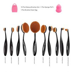 Aibay 10 Pcs Soft Oval Toothbrush Design Makeup Brush Sets Foundation Brushes BB Cream Contour Powder Blush Concealer Brush Makeup Cosmetics Tool Set -- Click image to review more details.