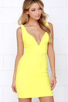 Wine and Divine Me Yellow Bodycon Dress at Lulus.com!
