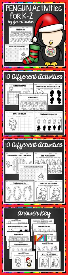 PENGUINS ACTIVITIES FOR K TO 2   This 20-page packet is composed of exciting penguin worksheets for your students. You will get the following penguin activities:  Hidden Message Silhouette Match Mixed Pictures Draw and Color Mazes Odd One Out Word Search Puzzle Picture Match Spot the Difference Answer Key  I included the Answer Key for these penguin worksheets. Your students will surely enjoy these PENGUIN WORKSHEETS! Please see PREVIEW to see all the penguin worksheets you will get.