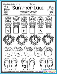 What a great place to spend your summer vacation - in Hawaii at a luau! And if not, then this worksheet may just have to do. One can always dream! Kids fill in the missing numbers in order up to 10. Please check out the entire set of August Counting Worksheets for even more summer fun. Counting Worksheets For Kindergarten, Graphing Worksheets, Kindergarten Math, Writing Lines, Dream Kids, Ordering Numbers, Learn To Count, My Teacher, Luau