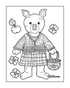 Karen`s Paper Dolls: Doll and Bear Postcards to Print and Colour. Dukke og bamse postkort til at printe og farvelægge.