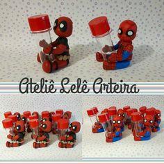 #sobencomenda #AtelieLeleArteira #biscuit #porcelanafria #lembrancinha #festaaniversario #amooquefaço #aniversario #Deadpool #HomemAranha #festaniver #herois