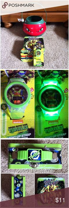 "Teenage Mutant Ninja Turtles New kids Teenage Mutant Ninja Turtles ""Raphael"" plastic bucket, light-up strap LCD watch, pack of 2 interchangeable charm band bracelets & a carry tin or could be used as a lunchbox - measures 5 3/4"" X 5 3/4"" X 2 1/2"".  ⭐️I have more Teenage Mutant Ninja Turtles items listed. ✅I list items every few days. Other"