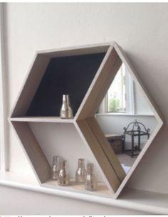 Wooden Framed HEXAGONAL WALL MIRROR Geometric Shelving