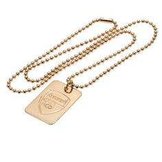 - gold plated dog tag & chain- dog tag approx x chain approx inches)- in a gift box- official licensed product Body Jewelry, Jewelry Shop, Fashion Jewelry, Jewellery, Military Inspired Fashion, Souvenir Store, Engraved Dog Tags, Everton Fc, Arsenal Fc