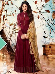 Maroon+Color+Indian+ethnic+Designer+anarkali+for+wedding+function