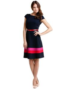 Anne Klein Midnight Colorblock Skirt Swing Dress