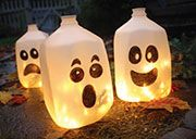 Been trying to figure out what to do with empty milk jugs, since we go through SO much milk! Well, how about milk jug ghosts :)