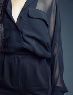 """Oversized Transparent Shirt by fashion studio """"They ARE"""" all in black  details."""