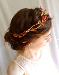 autumn head wreath - BRAMBLE - a fall wedding flower wreath accessory, burnt orange, gold. $52.00, via Etsy.