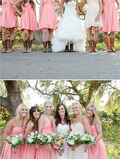 peach bridesmaid dresses & boots!