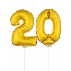 Gouden opblaas cijfer 20 op stokjes. Beide ballonnen zijn ongeveer 41 cm. Door middel van de ballonstokjes kun je de cijfers in een zachte ondergrond plaatsen. De ballonnen zijn alleen geschikt voor lucht.