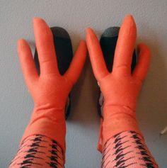 Full CHICKEN COSTUME. Hat Wings Feet. Red Orange by lilecreations