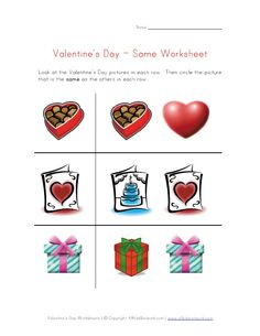 valentines day same worksheet