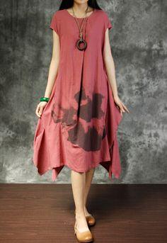 Summer Loose Fitting sundress women maxi dress in brick red/ blue/ linen color