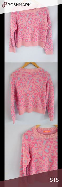 Pink Cheetah Crop Sweater Adorable pink sweater with cheetah print detail. Excellent condition! Shorter length. ILove Sweaters