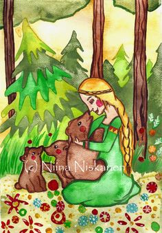 Mielikki and the bears  ACEO Art Print  Goddess  by fairychamber