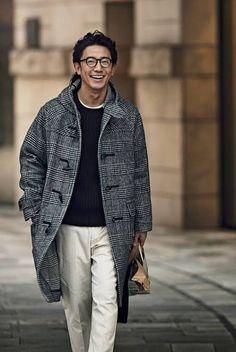 Mature Mens Fashion, Old Man Fashion, Japan Fashion, Daily Fashion, Young Adult Fashion, Man Coat, Duffle Coat, Well Dressed Men, Trench Coats