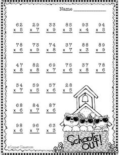 Lots of 2 digit multiplication practice with a summer theme! Math Activities For Kids, Math For Kids, Worksheets For Kids, Teaching Resources, Math Games, Two Digit Multiplication, Multiplication Worksheets, Multiplication Strategies, Math Fractions