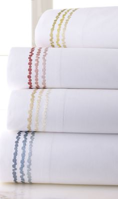 SFERRA's Crandall sheet sets for Horchow are made of the cool, crisp percale cotton that's perfect for tropical nights. Finished with jazzy embroidery in 4 sea-inspired hues. Love these sheets. Linen Comforter, Duvet, Bed Linens, Luxury Sheets, Luxury Bedding Sets, Luxury Linens, Best Sheet Sets, Textiles, Bedding Shop