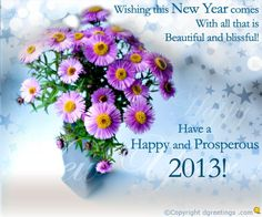 Dgreetings - Send this happy New Year greeting card to your dear ones. Happy New Year Greetings, New Year Greeting Cards, New Year Card, Floral, Flowers, Flower