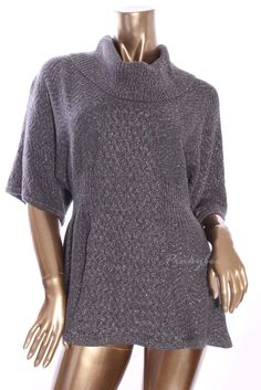 STYLE&CO Womens New Dark Gray Silver Cowl Neck Cable Knit Sweater Size M #Styleco #CowlNeck