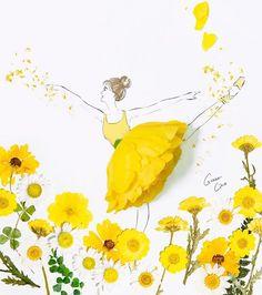 Floral dresses fashion illustrations by grace ciao Floral Illustrations, Illustration Art, Fashion Illustrations, Flower Petals, Flower Art, Grace Ciao, Art Simple, Fashion Illustration Dresses, Floral Fashion