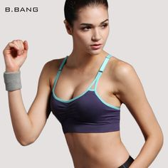 f5c1c64446eb1 Women Push Up Bra Running Sports Shirts for Yoga Gym Fitness Patchwork Tops  Adjustable Strap Bra