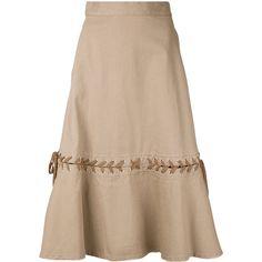 G.V.G.V. Denim Lace-up Skirt ($506) ❤ liked on Polyvore featuring skirts, knee length denim skirt, denim skirt, beige skirt, beige denim skirt and lace up skirt