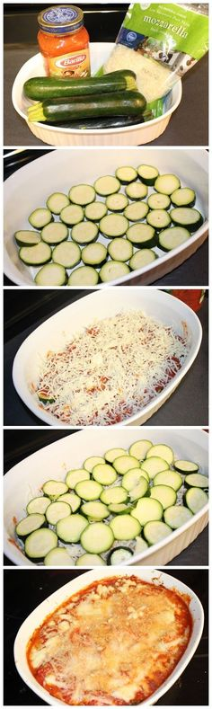 Easy Cheesy Zucchini Bake (I'd add some beef or sausage in sauce)
