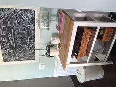 Kitchen storage and chalkboard