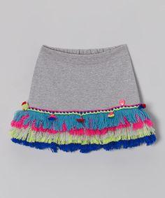 Gray & Neon Fringe Skirt -