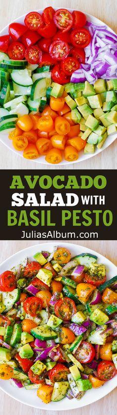 Tomato Cucumber Avocado Salad with Basil Pesto #healthy #Italian