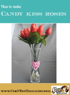 how to make candy kiss roses from Hershey Kisses, tissue paper, and floral tape. Great for sweetest day, Valentine's Day, or a birthday!