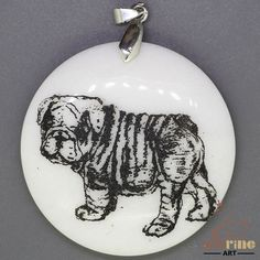 STONE  NECKLACE COLOR PAINTING DOG PENDANT WHITE GEMSTONE ZL7000417 #ZL #Pendant