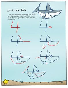 Draw sea animals with incredible ease using numbers 2 through 20. Draw killer whales, sharks, sea lions and lobsters in easy-to-follow steps. You're going to have a splashing good time when you dive i