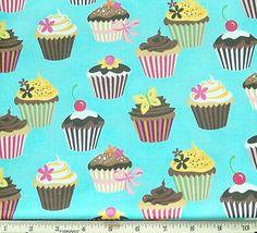 Cupcake fabric Robert Kaufman blue