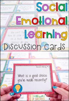 Practice and discuss social and emotional (SEL) skills with these discussion task cards. Sets focus on self-awareness, self-management, social awareness, relationships, and decision-making skills. Use this activity to have students work in partners, groups, or a full group to discuss these critical ... Activities For Teens, Counseling Activities, Learning Activities, Therapy Activities, Elementary Counseling, School Counseling, Social Emotional Activities, Emotional Support Classroom, Emotional Kids