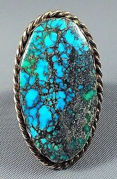 19g MASSIVE Old Pawn Navajo Sterling KINGMAN SPIDERWEB Turquoise MENS Ring Sz 11
