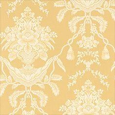Thibaut Piccadilly - Hampton Damask - Wallpaper - Straw