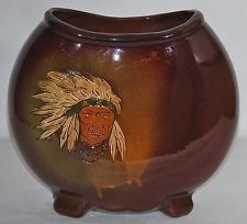 weller pottery indian portraits | Weller Pottery Dickensware Carved Native American Indian Pillow Vase