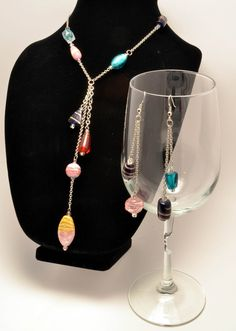 Asymmetrical Glass Bead Necklace and Earrings Set.
