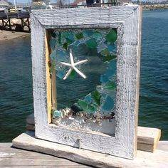 Beach glass with white star fish by beachcreation on Etsy