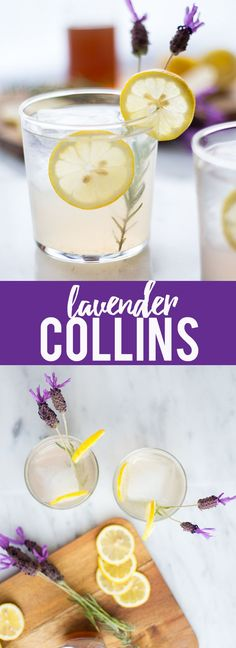 refreshing Lavender Collins is a fresh twist on a Tom Collins cocktail, with homemade lavender syrup, gin, lemon juice and a splash of sparkling water. Cointreau Cocktail, Cocktail Drinks, Alcoholic Drinks, Beverages, Cocktail Ideas, Liquor Drinks, Liquor Bar, Cocktail Garnish, Margarita Cocktail
