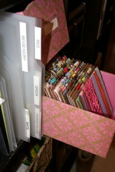Love this idea! Keep ribbons around the cardboard neat and tidy in organize