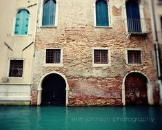 venice photography architecture brick building blue decor canal travel photography europe wall art Doors & Windows V28 by eireanneilis