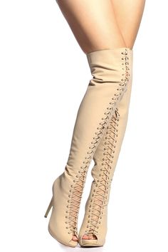 Nude Woven Lace Up Open Toe Thigh High Boots @ Cicihot Heel Shoes online store sales:Stiletto Heel Shoes,High Heel Pumps,Womens High Heel Shoes,Prom Shoes,Summer Shoes,Spring Shoes,Spool Heel,Womens Dress Shoes