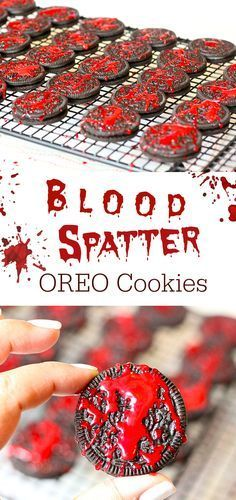 4 Totally Creepy Halloween Treats for Your Parties . These Blood Spatter OREO Cookies are epic.